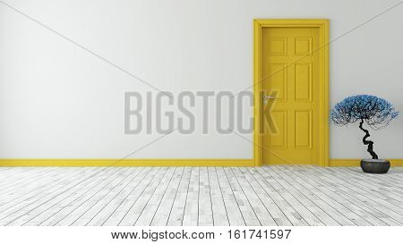dark yellow door with wall and parquet 3D rendering
