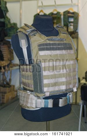 Body armor on the mannequin. Arms and security