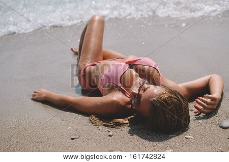 Girl enjoying the beach, with beautiful weather