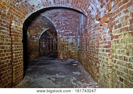 Historic underground passage under the abandoned fort