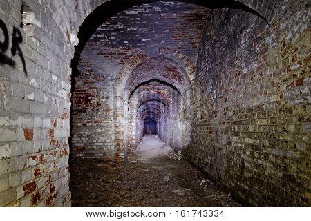 Old underground passage under german fortification castle