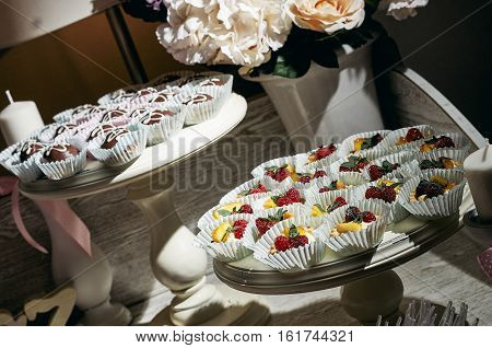 Wedding Cake - Bunch of Yummy Traditional Colorful Chocolate Cupcakes