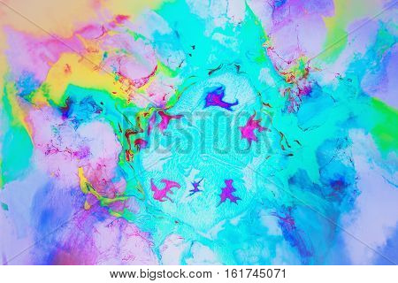 Action painting- formless paint. Abstract geometry of space- color field pictorial art.