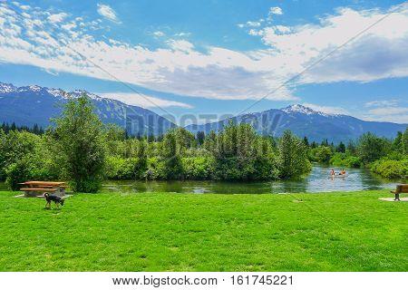 Leisure scene in Whistler in British Columbia Canada