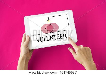 Volunteer Support Heart Icon Concept