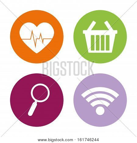heartrate shopping search wifi assorted app buttons icon image vector illustration design
