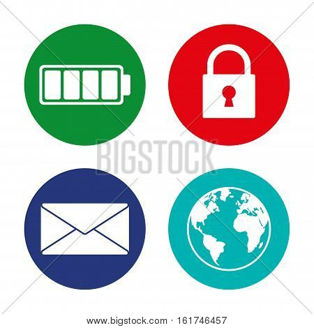 battery lock message internet assorted app buttons icon image vector illustration design