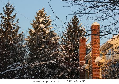 Town Homes in winter with fresh white snow at Hoffman Estates, Illinois
