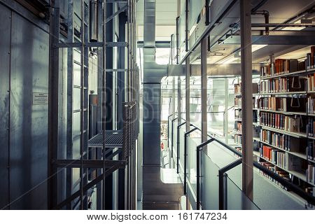 Books in a bookshelf at the library, university, konstanz