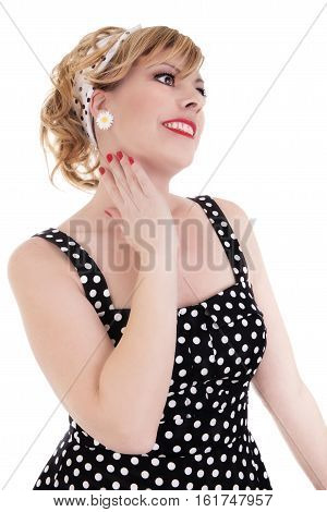 Classical blond pin-up isolated on white background.