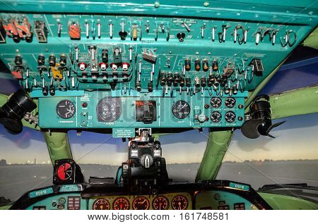 avionics devices and sensors in the cockpit of an old airplane