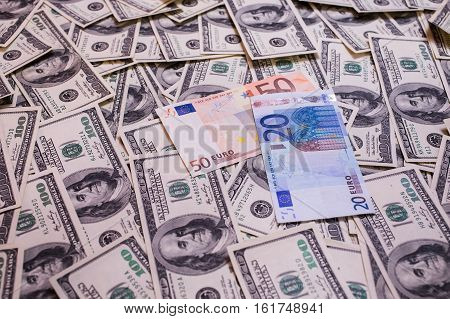 background of the money hundred dollar bills front side. background of dollars old hundred-dollar bill face millionaire businessman the euro and the dollar the euro against the dollar