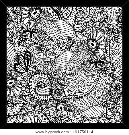 Black vector mono color illustration. Adult Coloring book page design, for adults. Vector template. Ornamental border and frame