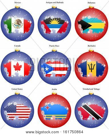 Set Of Icons. Christmas Tree Balls With Flags Of The North And Central America. Vector. 3D.