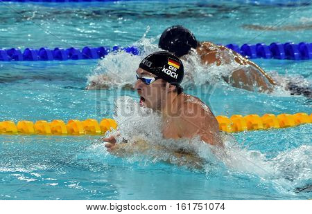 Hong Kong China - Oct 30 2016. Olympian world champion and record holder swimmer Marco KOCH (GER) swimming breaststroke. FINA Swimming World Cup Preliminary Heats Victoria Park Swimming Pool.