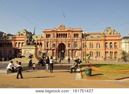 Casa Rosada, The Presidential House In Argentina.