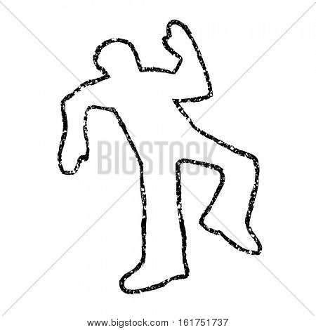 Chalk outline of dead body on asphalt road texture. Overlay vector illustration.