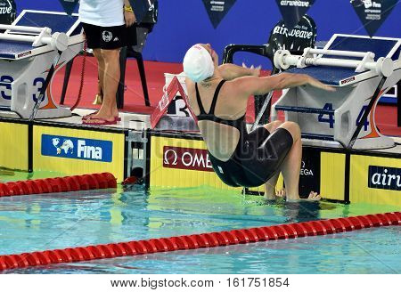 Hong Kong China - Oct 30 2016. Olympian and world champion swimmer Emily SEEBOHM (AUS) at the start of the Women's Backstroke 100m Preliminary Heat. FINA Swimming World Cup Victoria Park.