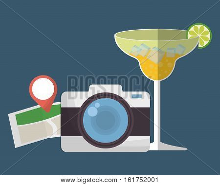 photographic camera with cocktail and map travel icon image vector illustration design