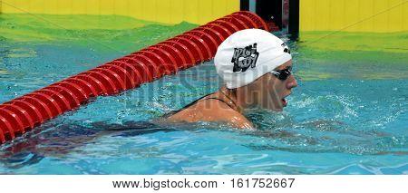 Hong Kong China - Oct 30 2016. Competitive swimmer Katinka HOSSZU (HUN) after the Women's Backstroke 100m Preliminary Heat. FINA Swimming World Cup Victoria Park Swimming Pool.