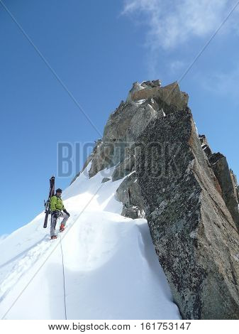 Climbers On The Petite Aiguilles Verte