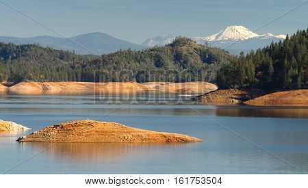 Water level is low at Lake Shasta in Northern California