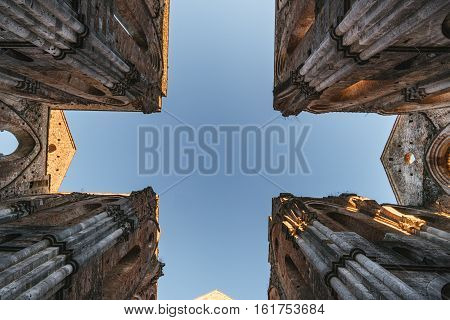 Remains of the Cistercian Abbey of San Galgano situated near Siena Italy.