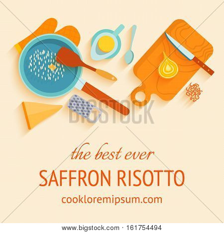 Flat design banner of recipe Italian traditional cuisine saffron risotto or alla milanese Parmesan cheese, oil, rice, saffron. Layout with text space. Vector illustration.