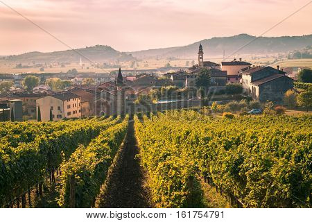 View of Soave (Italy) surrounded by vineyards that produce one of the most appreciated Italian white wines.