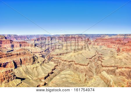 Vibrant multicolored Grand Canyon scene in South Rim Arizona