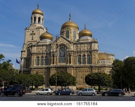 Varna, Bulgaria - August 21, 2016: Dormition of the Mother of God Cathedral largest and most famous Bulgarian Orthodox cathedral in the Bulgarian Black Sea port city of Varna