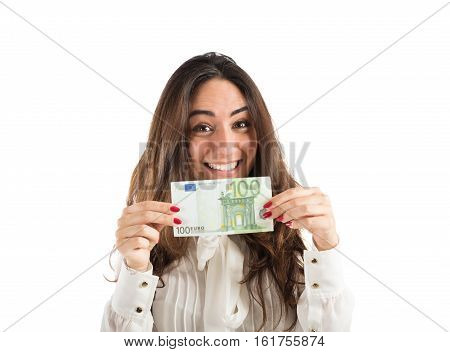 Happy businesswoman shows a 100 euro banknote