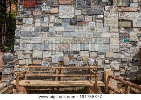 Ipiales Ecuador - 11 September 2016: Marble Plates With The Religious Texts On Las Lajas Sanctuary Wall Built In A Gorge In Ipiales Colombia South America