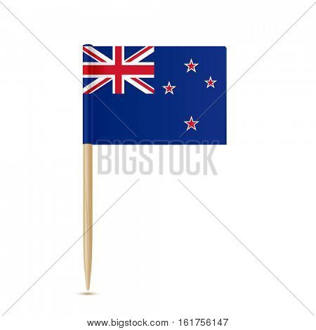 Flag of New Zealand toothpick on white background 10eps