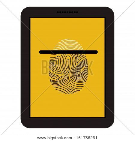 Fingerprint and laptop icon. Identity security print and privacy theme. Isolated design. Vector illustration