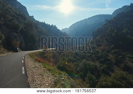Empty winding mountain road in Provence. Provence-Alpes-Cote d'Azur France