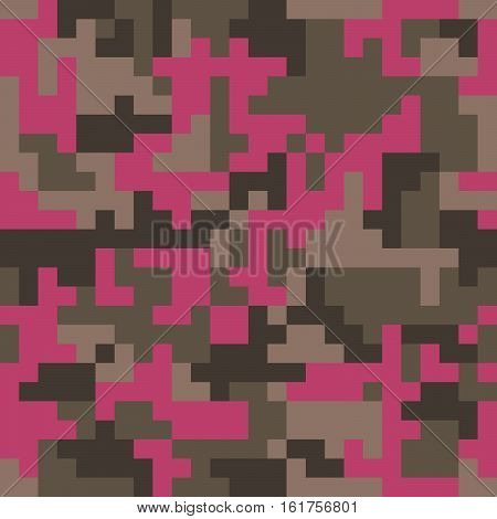 Pixel camo seamless pattern. Fashion pink trendy camouflage for game industry. Vector fabric textile print design. Femimine style
