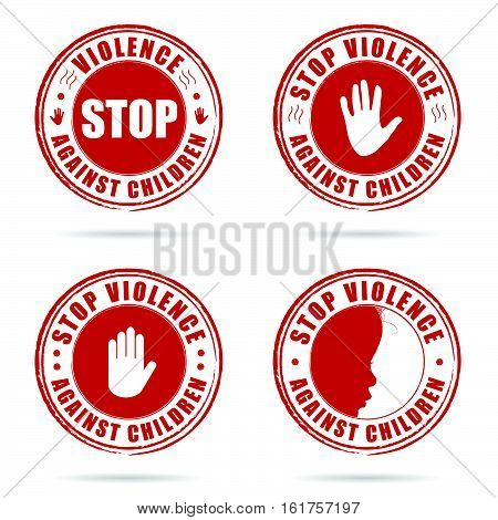 Grunge Rubber Stop Violence Against Children Sign In Red On Hand Set Illustration