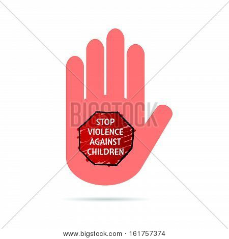Stop Violence Against Children Sign On Hand Colorful Illustration