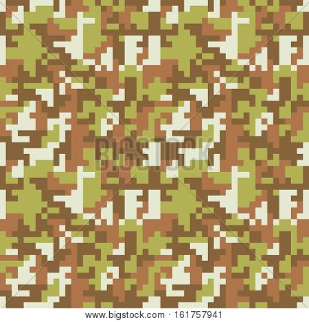 Pixel camo seamless pattern. Brown forest camouflage. Vector fabric textile print design
