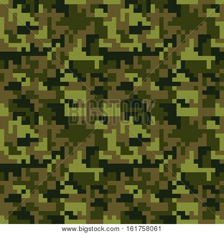 Pixel camo seamless pattern. Green forest camouflage. Vector fabric textile print design