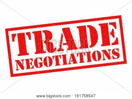 TRADE NEGOTIATIONS red Rubber Stamp over a white background.