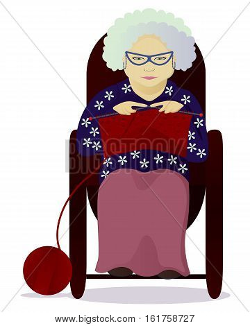 vector illustration granny knit isolated on white