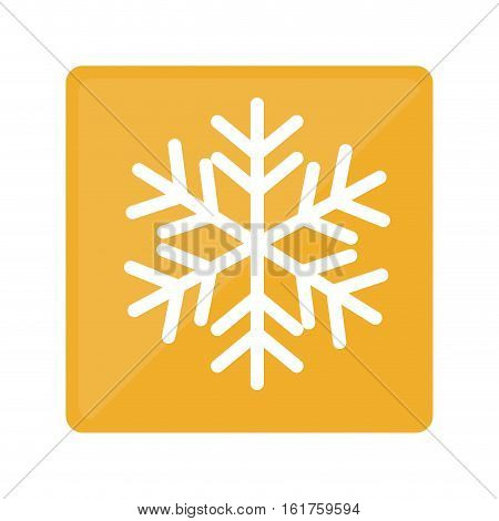 yellow square with winter snowflake icon over white background. vector illustraiton
