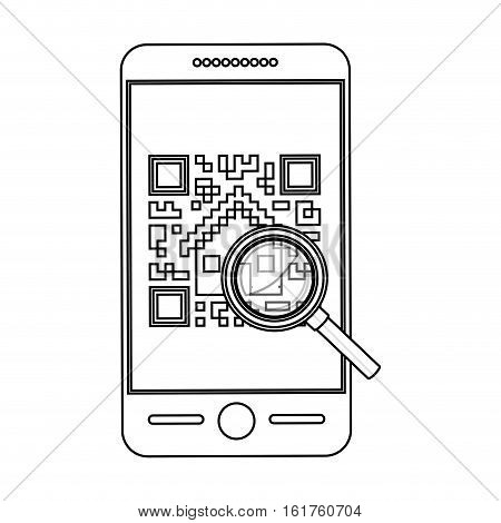 Qr code and smartphone icon. Scan technology information price and digital theme. Isolated design. Vector illustration