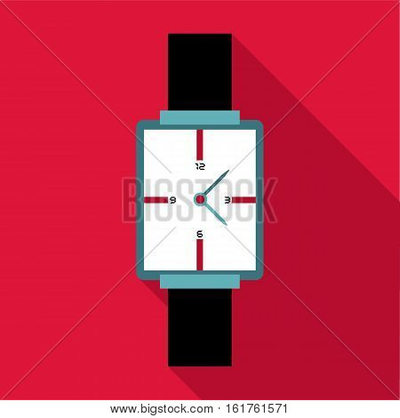 Square wristwatch icon. Flat illustration of square wristwatch vector icon for web