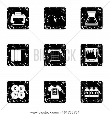 Printer icons set. Grunge illustration of 9 printer vector icons for web