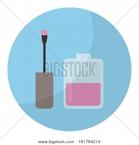 blue circle with nail lacquer icon over white background. colorful design. vector illustration