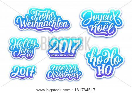 Merry Christmas and Happy New Year 2017 vector blue labels set with english, french and german greetings text. Holly jolly, Ho-ho-ho, Joyeux Noel and Frohe Weihnachten hand lettering on stickers