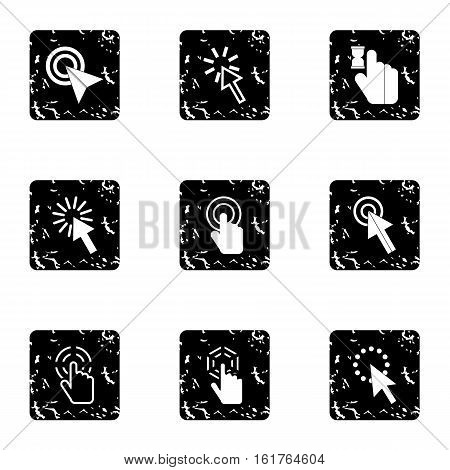 Pointer icons set. Grunge illustration of 9 pointer vector icons for web